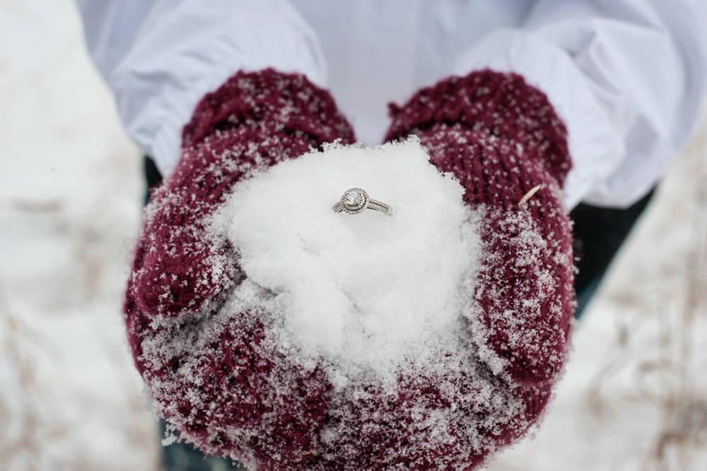 Regina Engagement Photographer - Stephen & Sara - Ring in the Snow