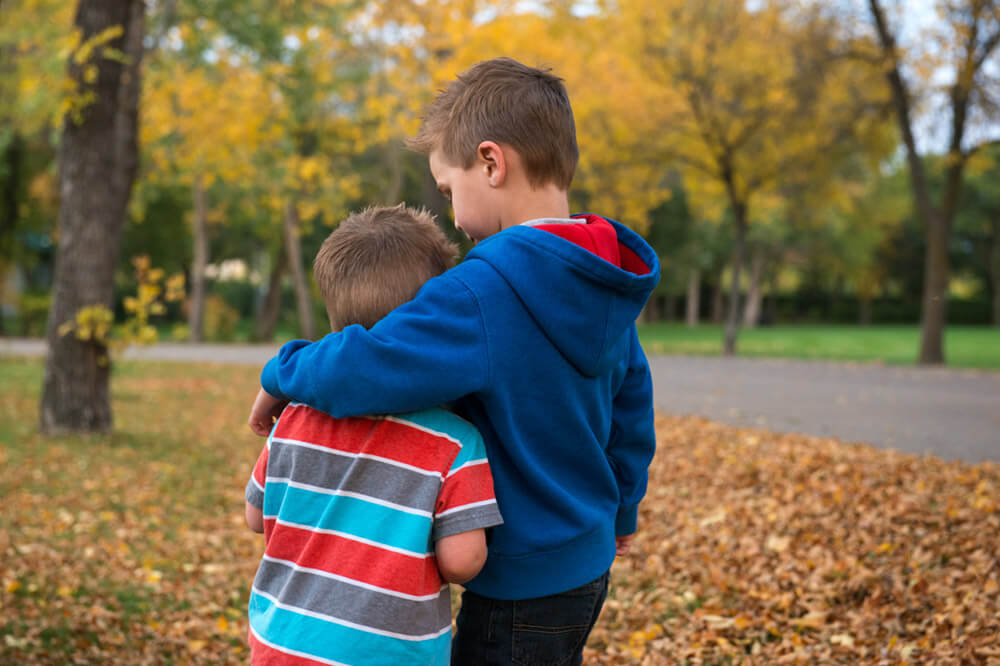 Brothers in fall at Kiwanis Park - Favel Family 2015