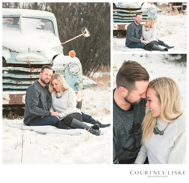 Trevor & Nicole Engagement - Courtney Liske Photography - Regina Wedding Photographer - Old Trucks