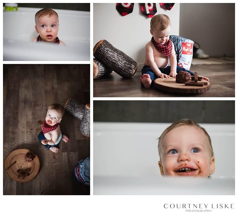 Cooper is One - Courtney Liske Photography - Regina Family Photographer - Lumberjack Cake Smash