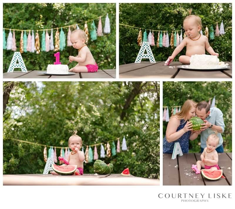 Avonlea is One - Courtney Liske Photography - Regina Family Photographer - Watermelon Smash