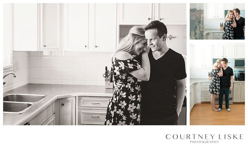 Hlushko Family - Courtney Liske Photography - Regina Family Photographer - In home session - Couple Kitchen