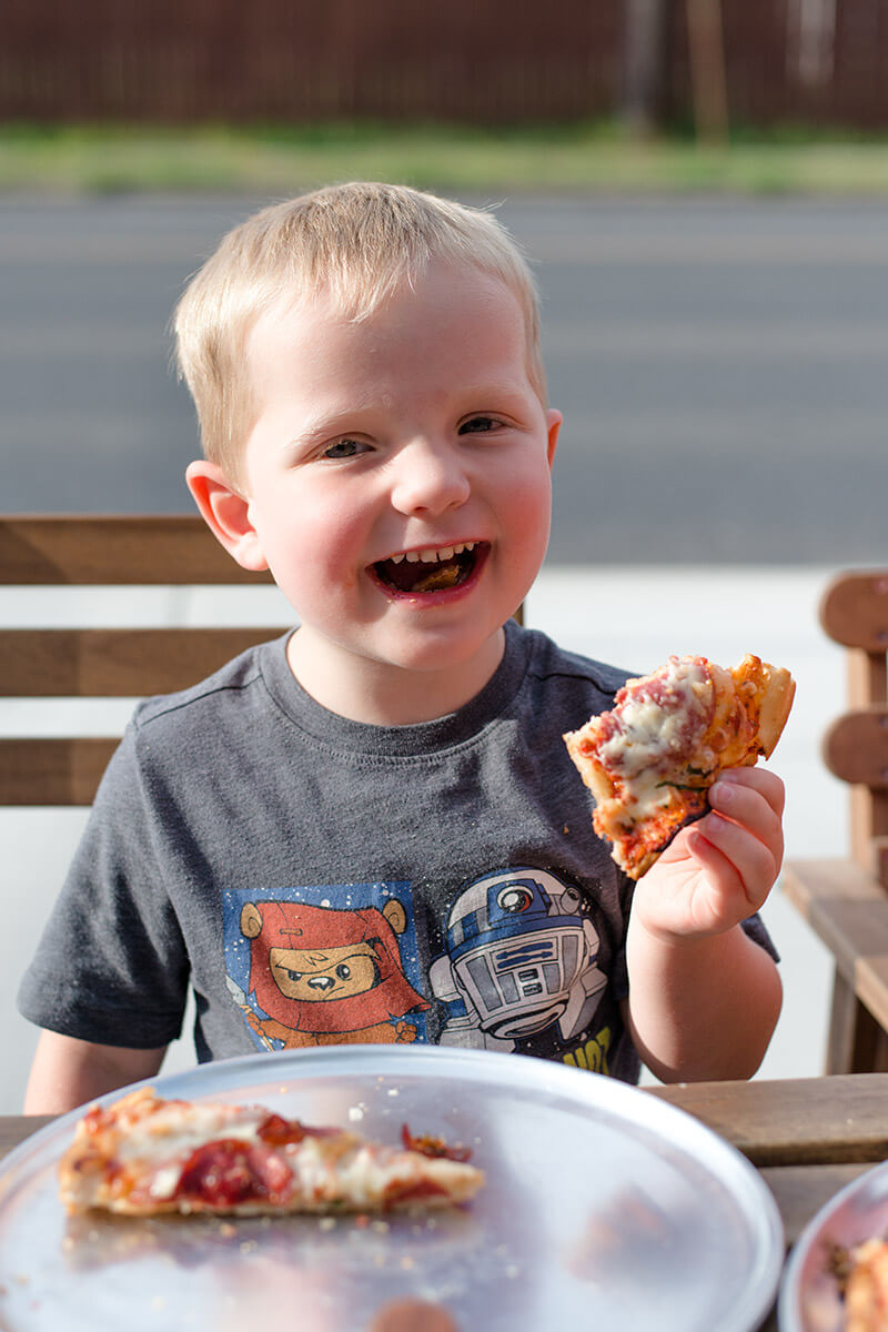 A very satisfied customer at The Village Flatbread Co