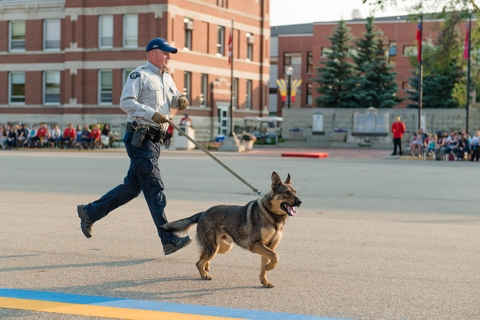 Courtney Liske Photography - Regina Family Photographer - RCMP - Sunset-Retreat Ceremony - RCMP Dog