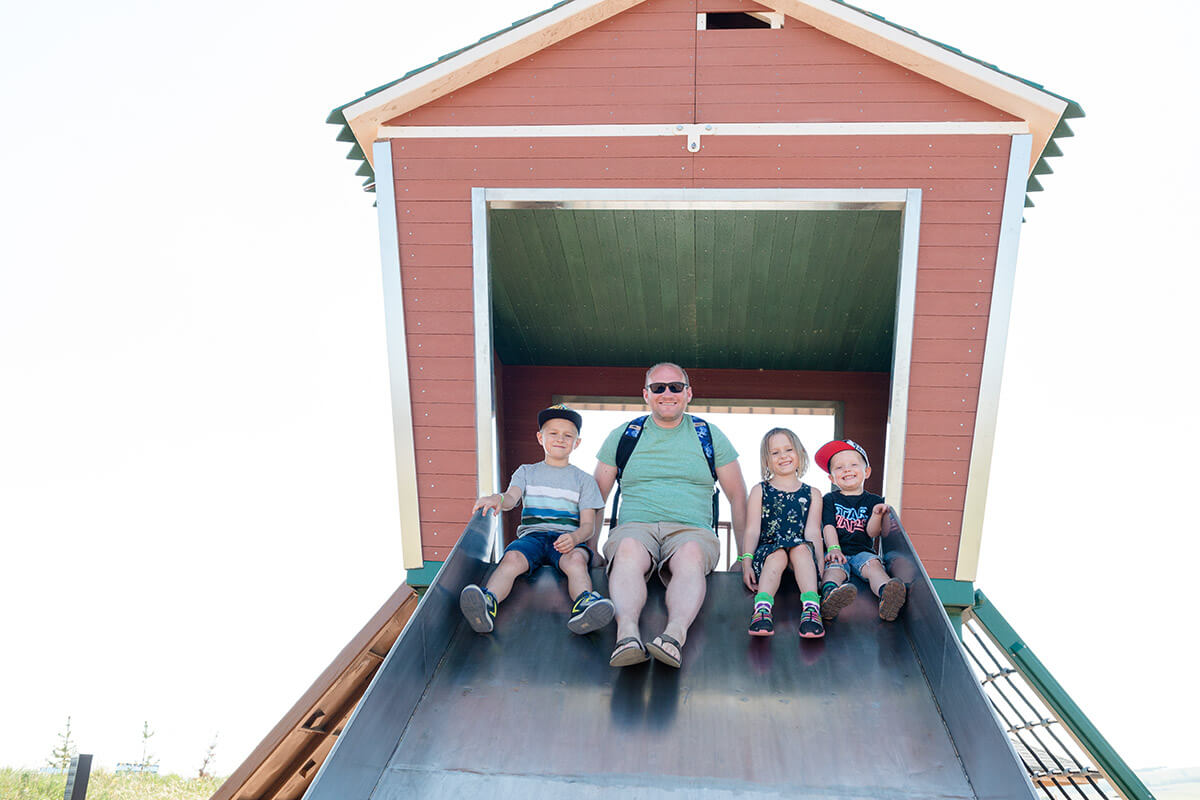 Giant chicken coop slide for the whole family
