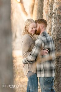 Couple together in wooded area