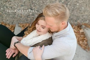 Engaged couple during their Regina engagement session with Courtney Liske Photography