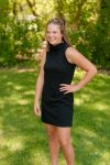 Teenage girl in black dress in Wascana Park