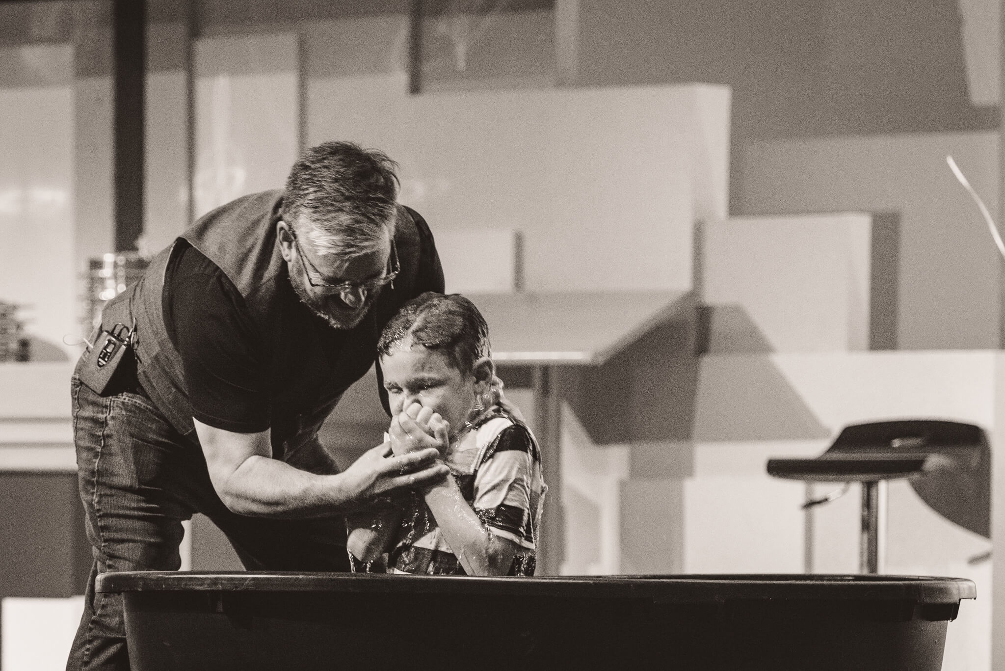 Boy being baptized at Celebration Church Regina