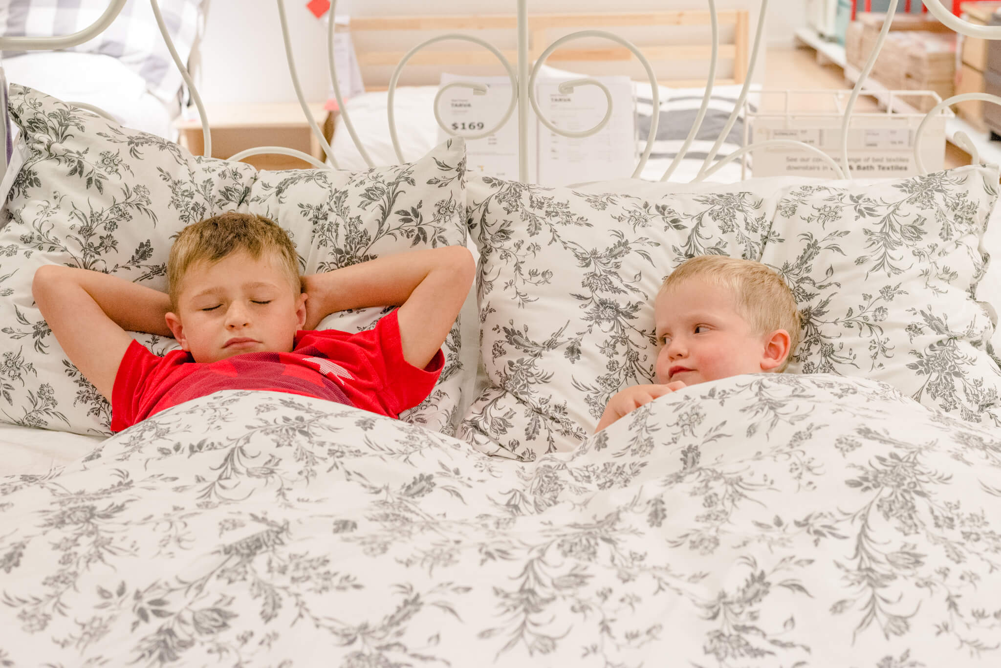 Two boys playing at IKEA