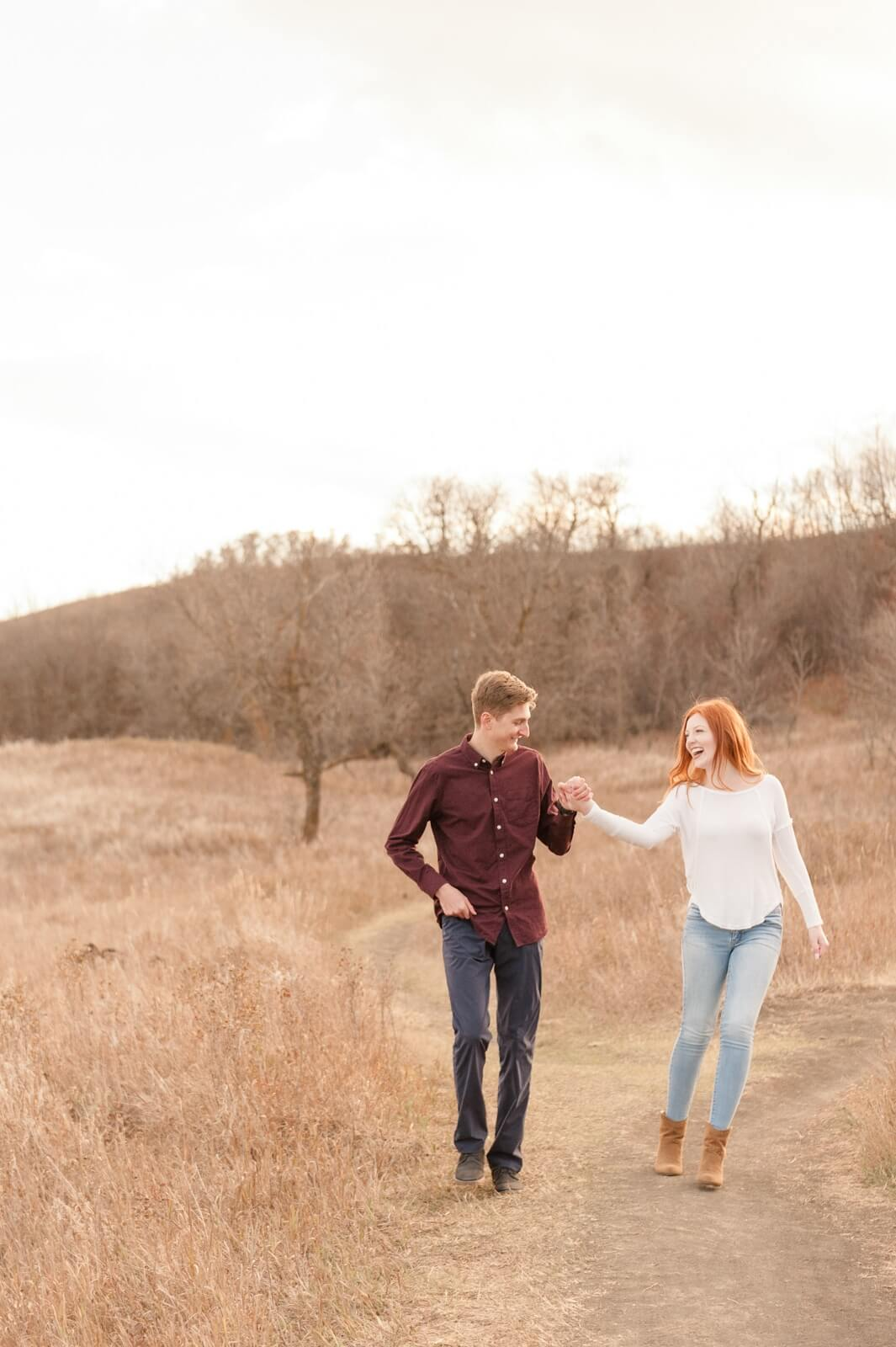 Regina Engagement Photographer - Cole-Alisha - Walking at Wascana Trails