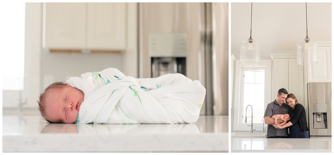 Regina Newborn Photographer - Olsen- White kitchen countertop