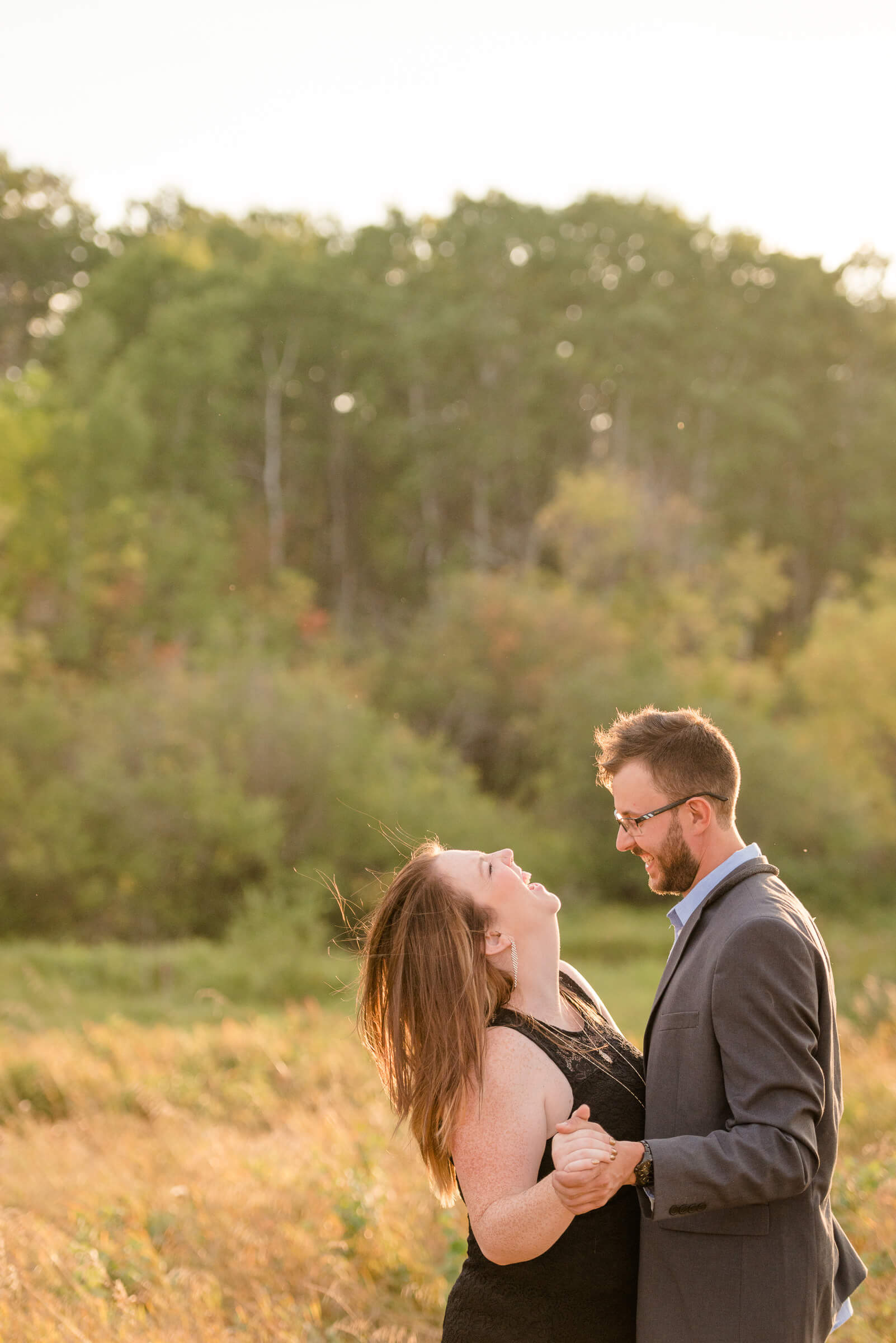 Allie & Nathan - Sunset Laughter - Acreage Engagement Session