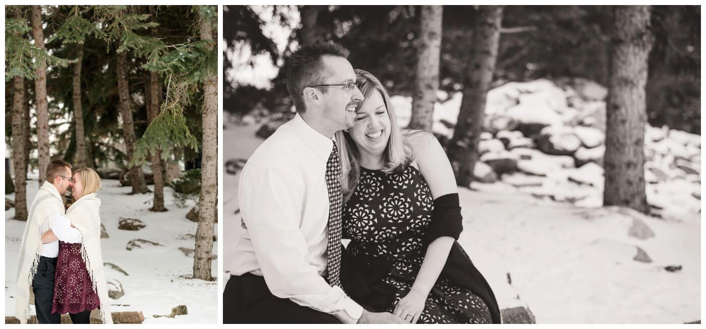Regina Engagement Photographer - Dave-Sarah - Winter Engagement Session - Kiwanis Park Regina - Wine Dress - Snow - Blanket