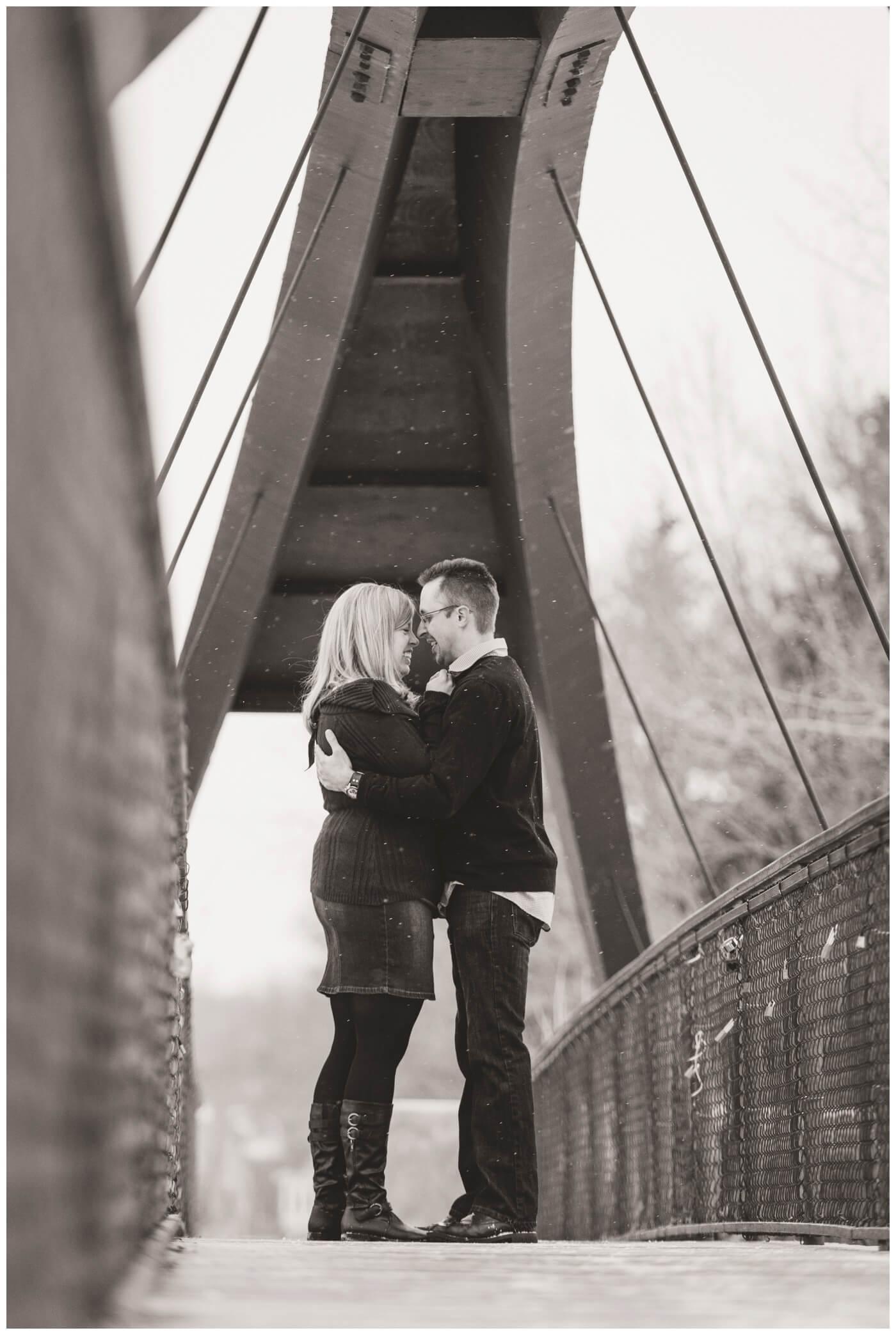 Regina Engagement Photographer - Dave-Sarah - Winter Engagement Session - Rotary Bridge