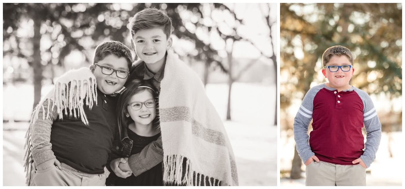 Regina Family Photographer - Goudy Family - Winter Family Session - Snow - Three Children Under Blanket - Candy Cane Park