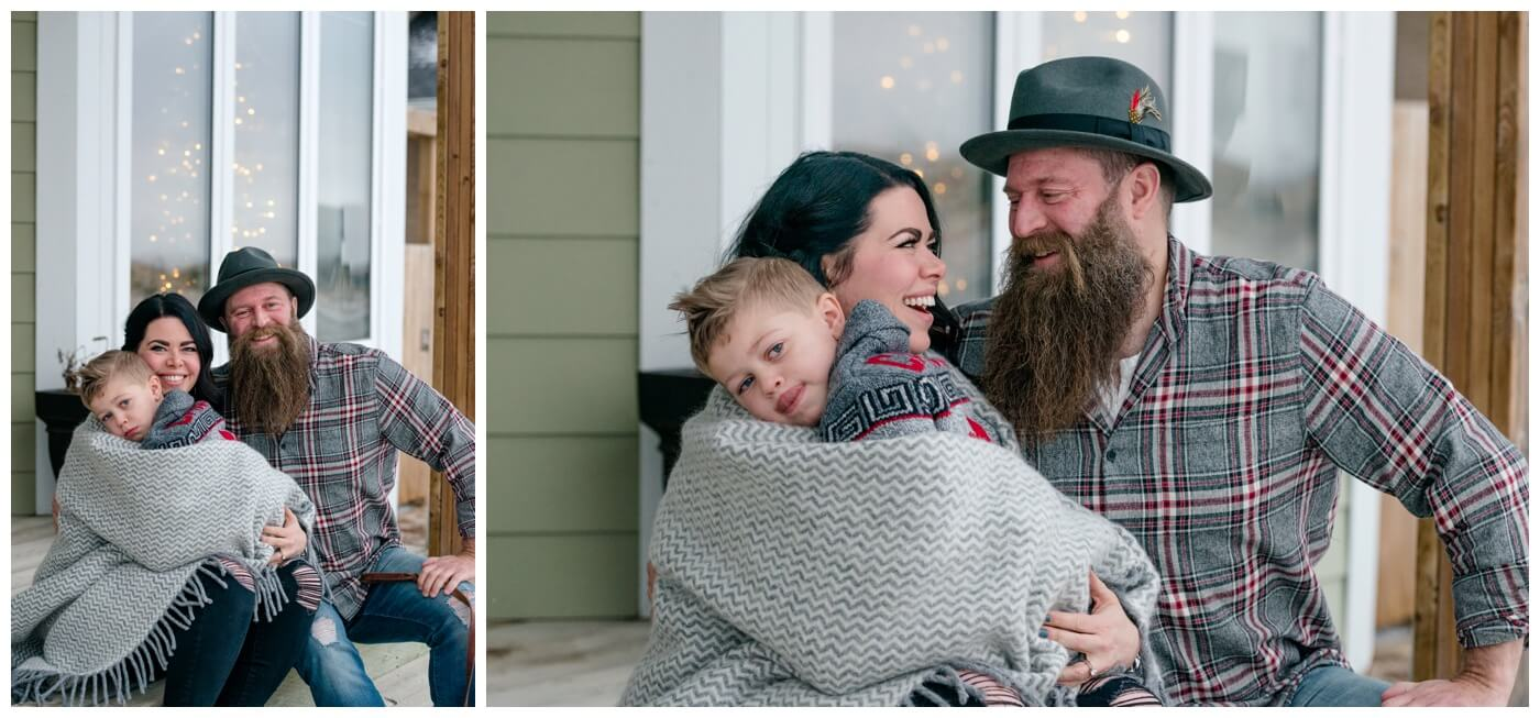 Regina Family Photographer - Keen Family - Dionne-Timothy-Shepherd - Lumsden Family Session - Front Porch - Blanket - Barefeet - Natural Light Photography Regina