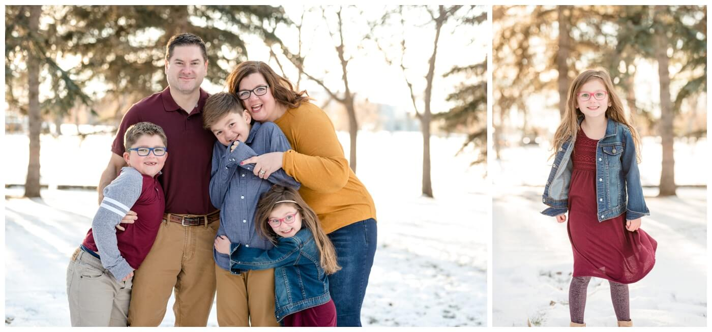Regina Family Photographers - Goudy Family - Winter Family Session - Pine Trees - Snow - Candy Cane Park - Mustard - Wine - Khaki - Denim