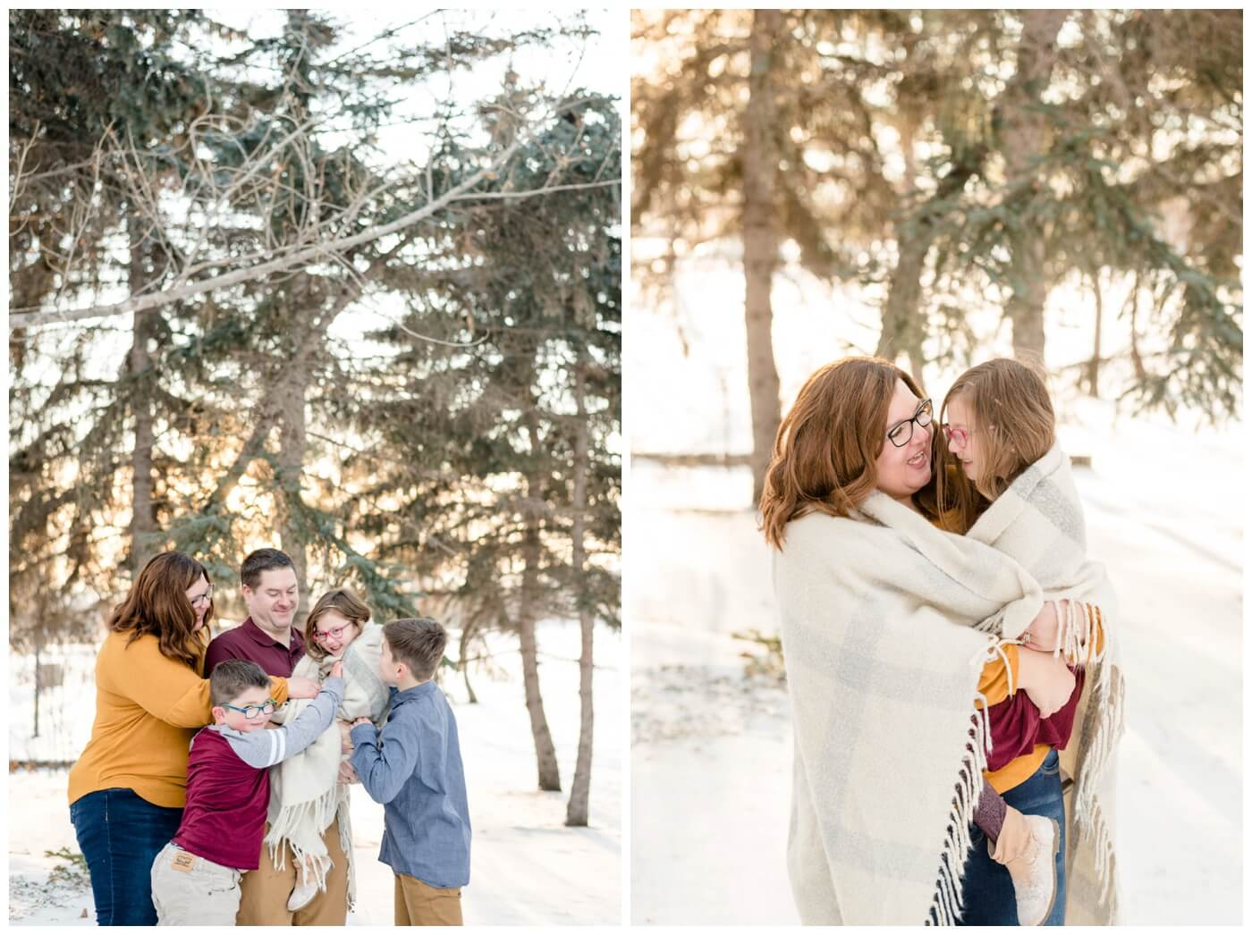 Regina Family Photography- Goudy Family - Winter Family Session - Snow - Candy Cane Park - Mother holding daughter in grey knit blanket