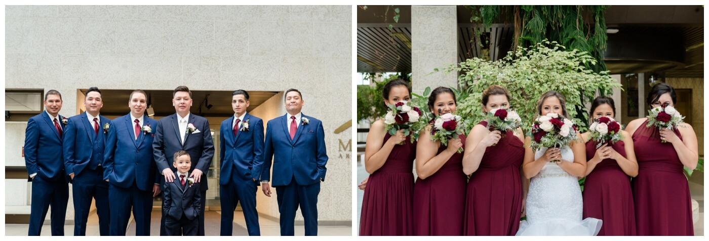 Regina Wedding Photographer - Laurie - Destiny - Fall Wedding - TC Douglas Building - Wascana Flower Shoppe - Wine Bridesmaid Dresses - Blue Groomsmen Suits