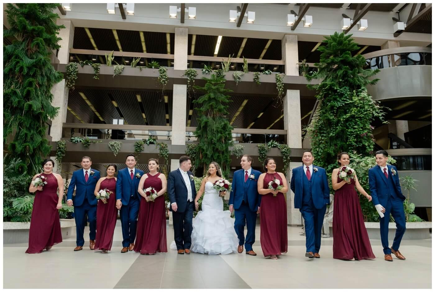 Regina Wedding Photography - Laurie - Destiny - Fall Wedding - TC Douglas Building - Bridal Party - Wine Dresses - Blue Suits & Red Tie