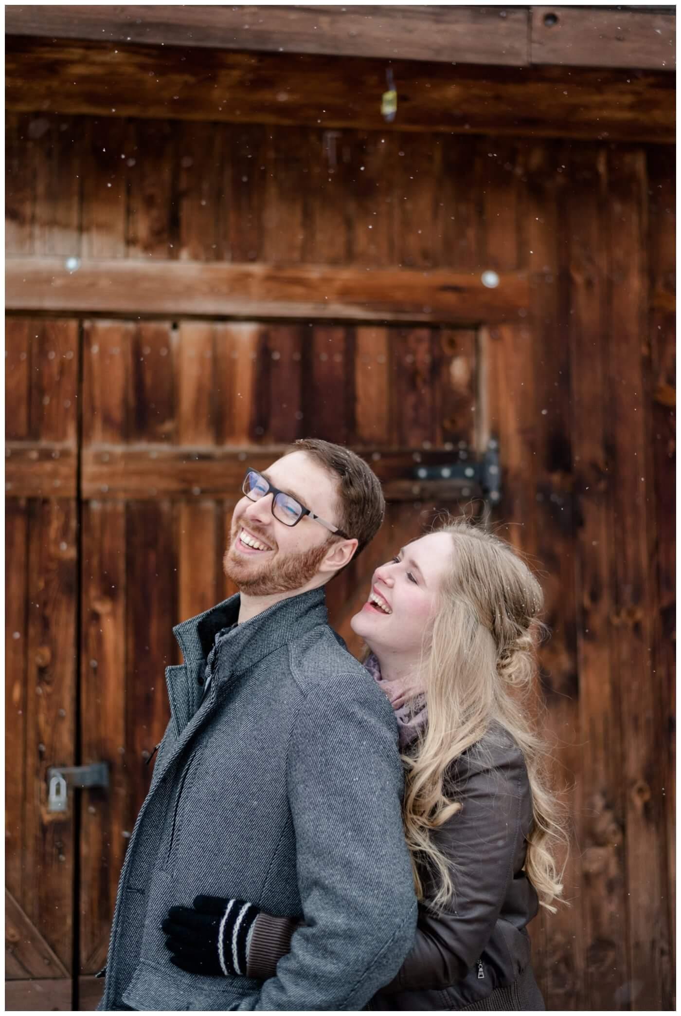 Regina Engagement Photography - Regina Wedding Photographer - Mitch-Latasha - Winter Engagement - Willow on Wascana - Aged Barnwood Doors