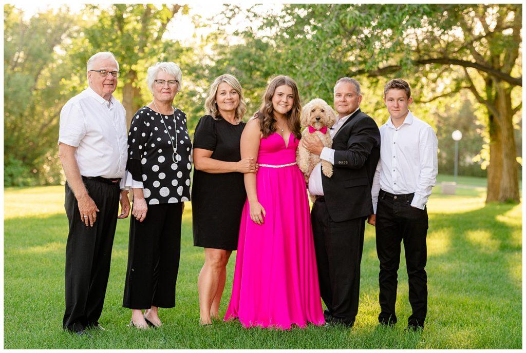 Regina Family Photographer - Georgia Graduation 2020 - Summer Graduation Session - Family photo with grandparents and family dog