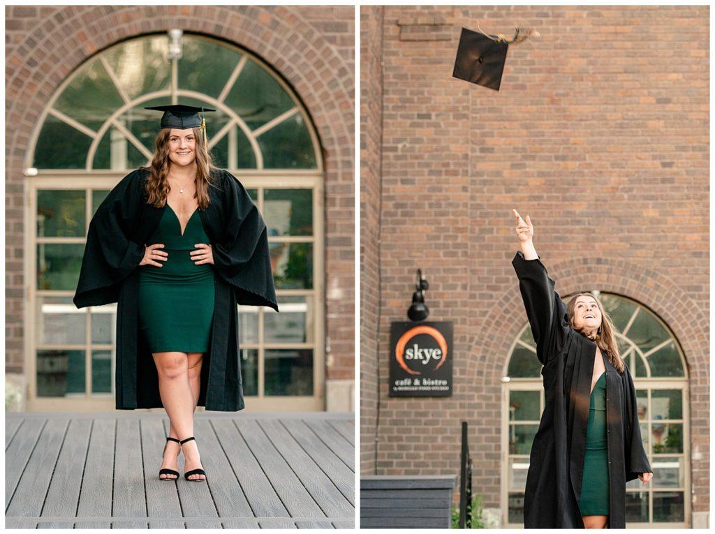 Regina Family Photographer - Georgia Graduation 2020 - Summer Graduation Session - Girl in cap & gown throwing her cap