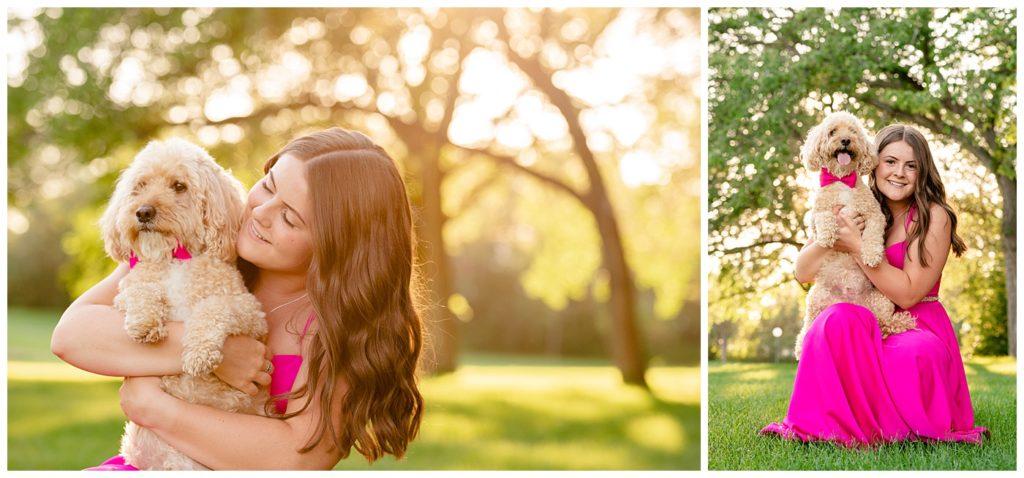 Regina Family Photographer - Georgia Graduation 2020 - Summer Graduation Session - Girl in vibrant pink dress hugs her dog in matching pink bowtie
