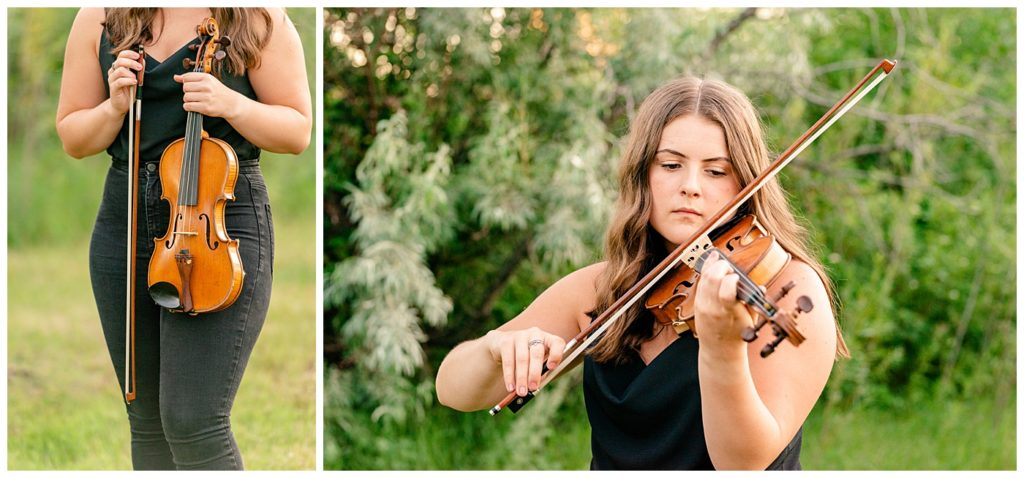 Regina Family Photographer - Georgia Graduation 2020 - Summer Graduation Session - Girl plays violin in the park