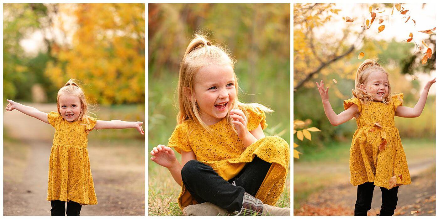 Liske Family 2020 - Science Centre - 006 - Girl throwing leaves
