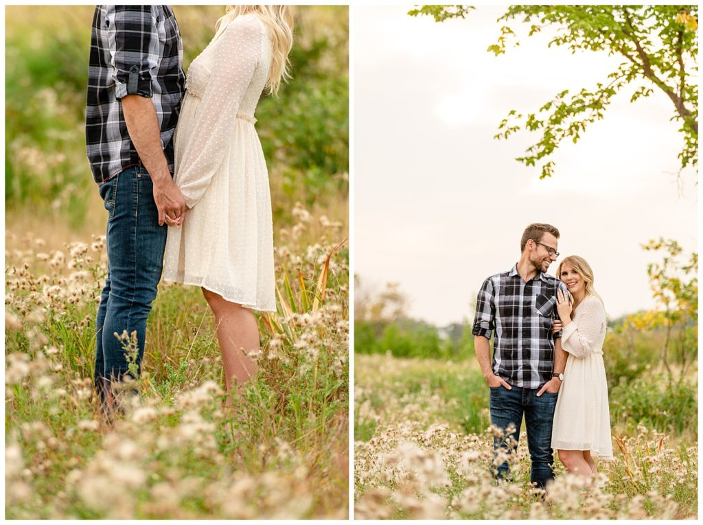 Regina Engagement Photography with Brett & Rachelle. Natural Light Engagement Session in Douglas Park. Couple in a field of fluff inside the Wascana Habitat Conservation Area