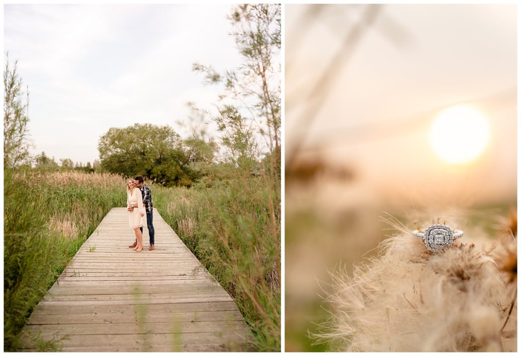 Regina Engagement Photography of Brett & Rachelle's Natural Light Engagement Session in Douglas Park in Regina. Ring on fluff in the Wascana Habitat Conservation Area