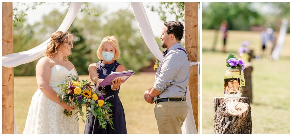 Regina Wedding Photographer - Ryan - Aeliesha - Bride & groom standing under wooden arch with Justice of the Peace - AE Wilson Park