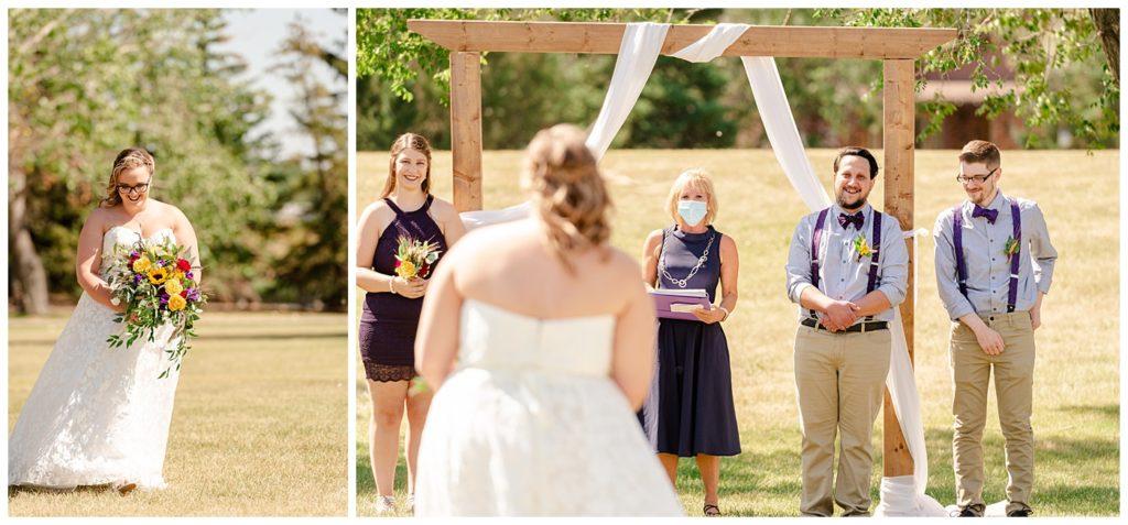 Regina Wedding Photographer - Ryan - Aeliesha - Bride walks down the aisle - AE Wilson Park