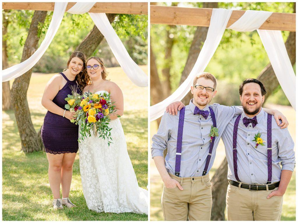 Regina Wedding Photographer - Ryan - Aeliesha - Bride with bridesmaid in purple lace dress - Groom with groomsmen with purple bowtie & suspenders