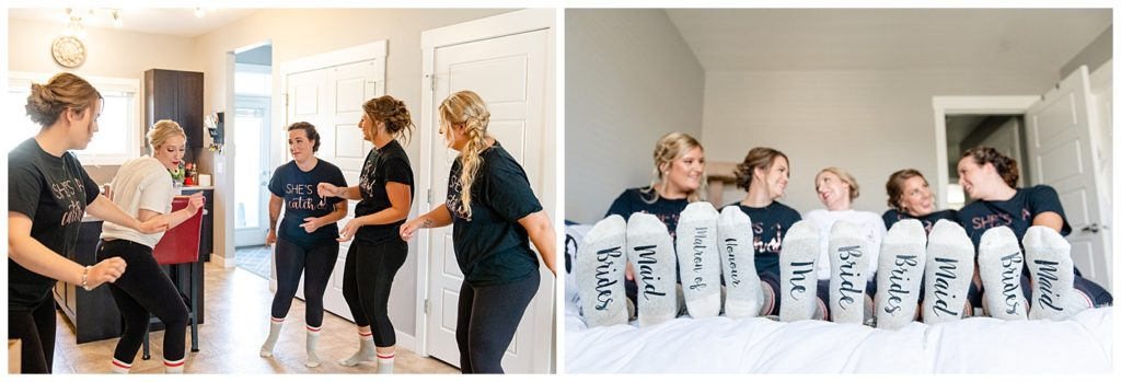 Regina Wedding Photographer - Tyrel - Allison - Bride & Bridesmaids dance it out in the kitchen - Bride & Bridesmaid socks