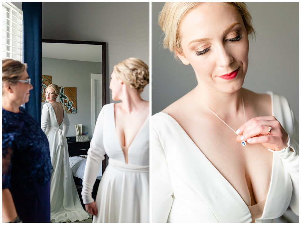 Regina Wedding Photographer - Tyrel - Allison - Bride in her Kathryn Bass custom gown - Sapphire birthstone Necklace by Hillberg & Berk
