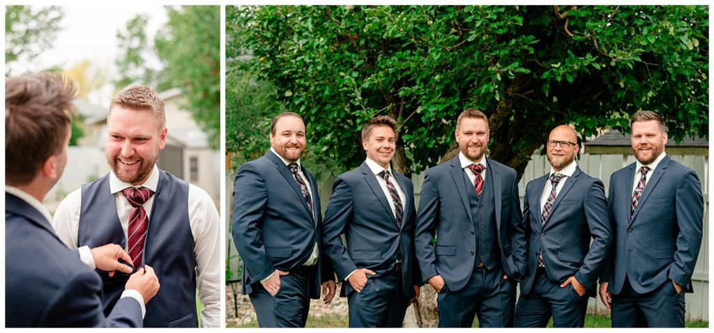 Regina Wedding Photographer - Tyrel - Allison - Groom with groomsmen in navy blue suits