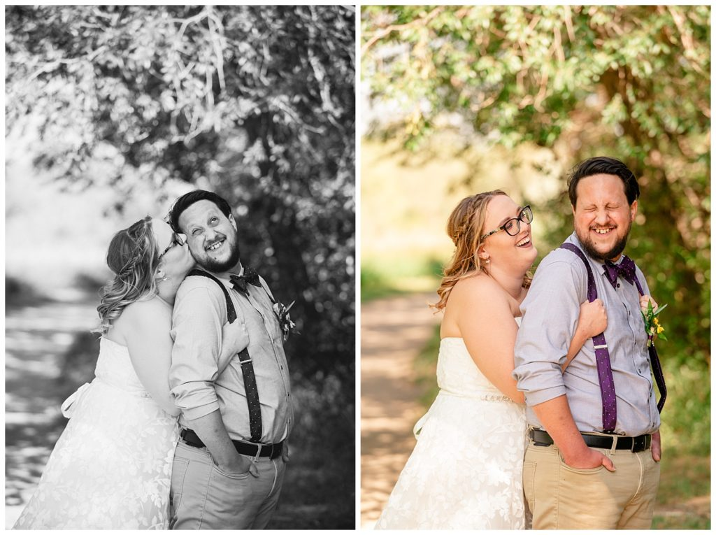 Regina Wedding Photographers - Ryan - Aeliesha - Bride & Groom snuggle under tree canopy