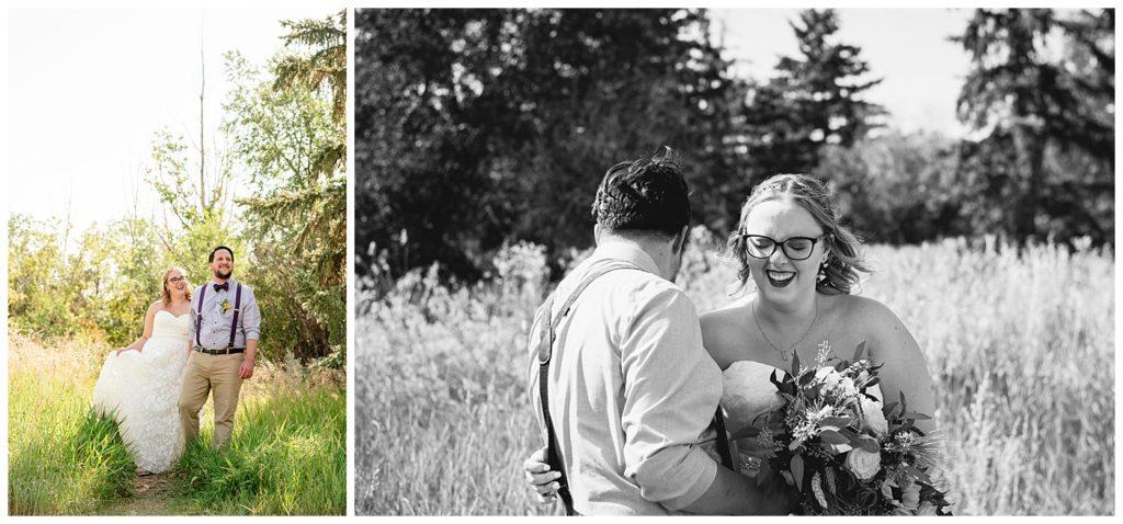Regina Wedding Photographers - Ryan - Aeliesha - Groom leads his wife through the tall grass