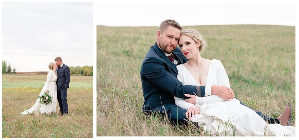 Regina Wedding Photographers - Tyrel - Allison - Bride & Groom in a field