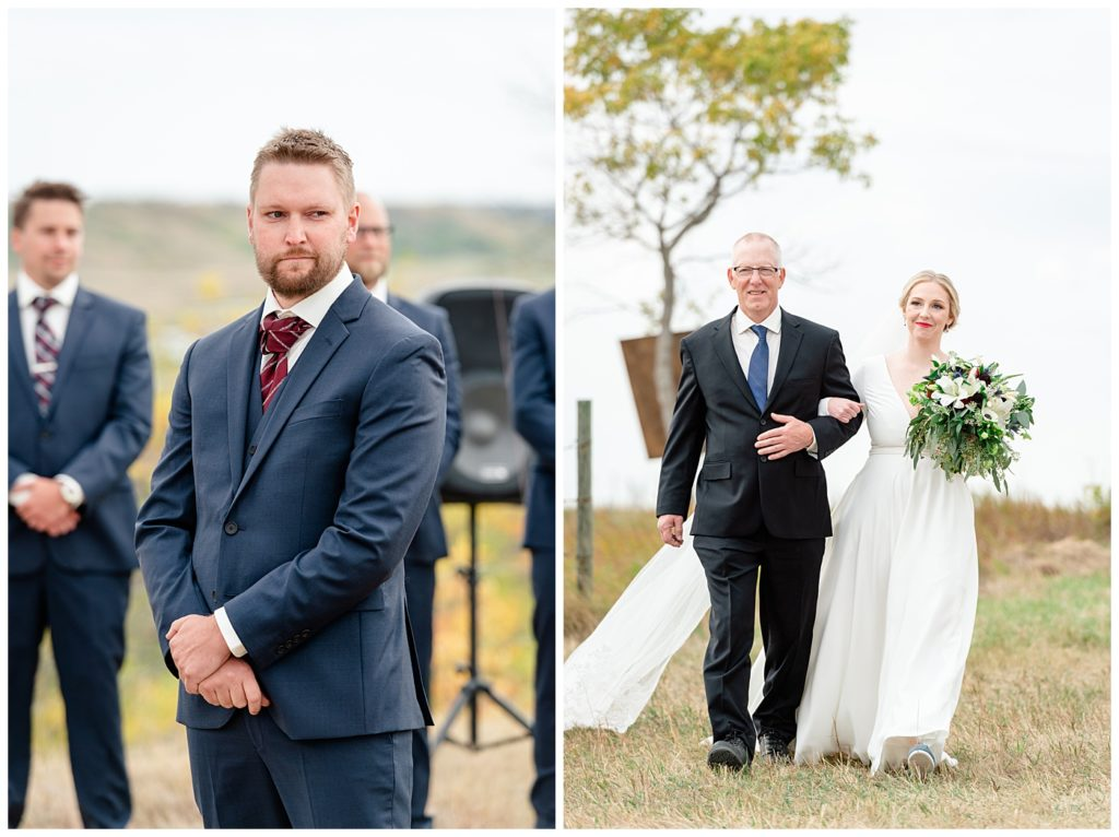 Regina Wedding Photographers - Tyrel - Allison - Bride & Groom lock eyes down the aisle