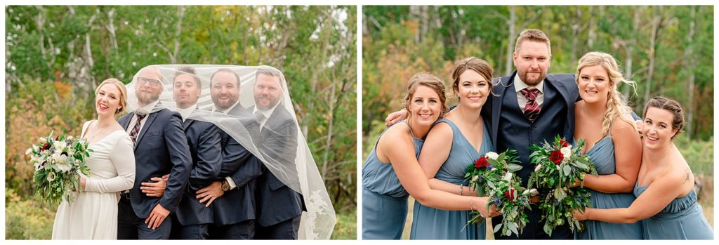 Regina Wedding Photographers - Tyrel - Allison - Bride with groomsmen under veil