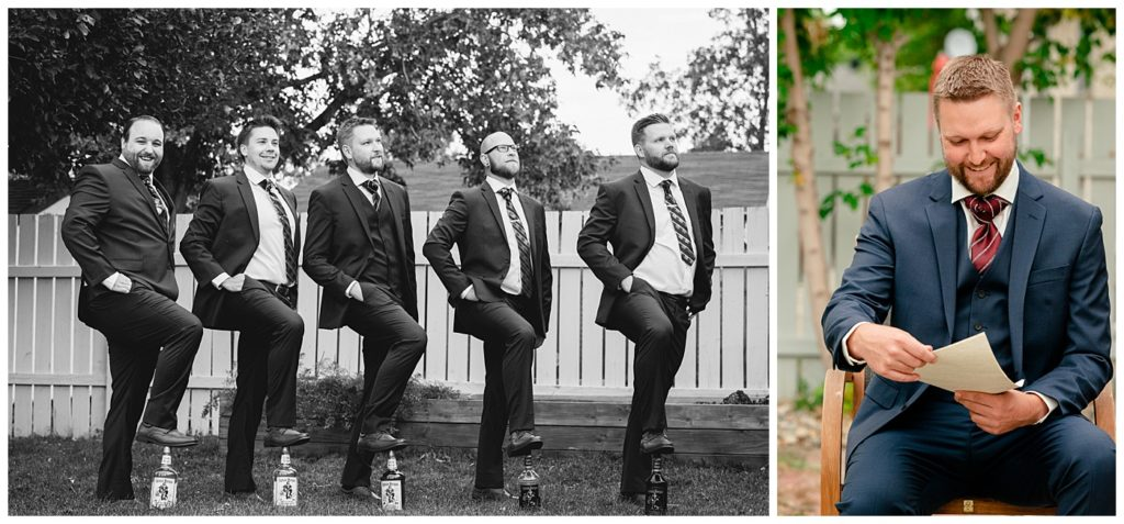 Regina Wedding Photographers - Tyrel - Allison - Groom & Groomsmen pose with Captain Morgan