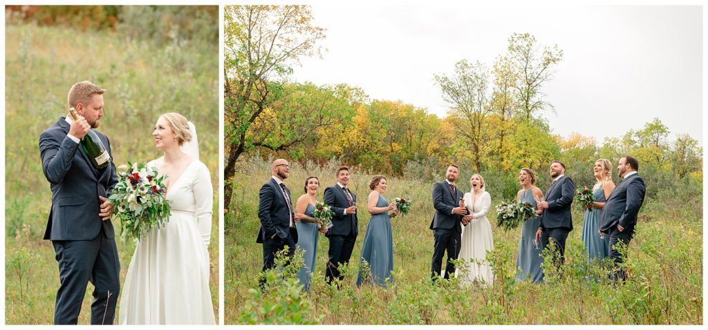 Regina Wedding Photography - Tyrel - Allison - Bridal party celebrates with Henkel champagne