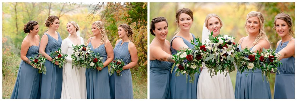 Regina Wedding Photography - Tyrel - Allison - Bride with Bridesmaids - Fall bouquets made by Blooms by Alison