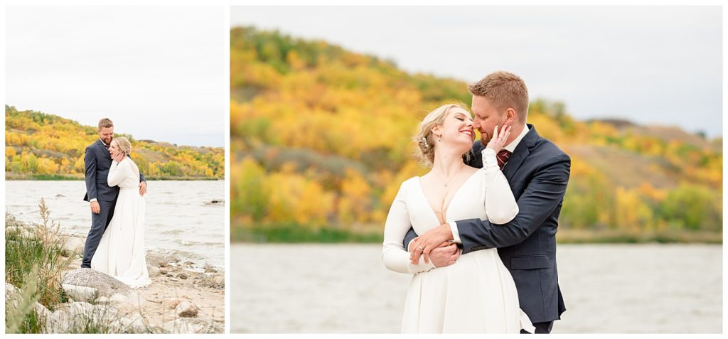 Regina Wedding Photography - Tyrel - Allison - Groom makes bride laugh on the beach