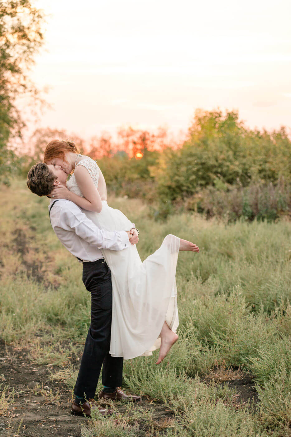 Cole & Alisha - Bride & Groom at Zadack Holdings in Regina for sunset photos