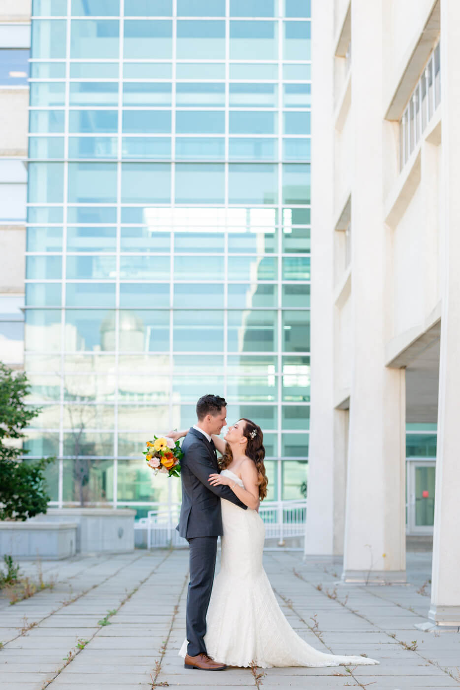 Tim & Jennelle - Bride & Groom first look at University of Regina